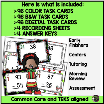 Two-Digit Addition and Subtraction Task Cards Bundle (Christmas theme)