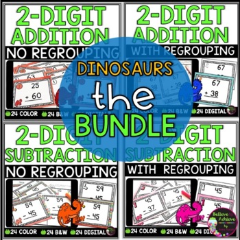 Two-Digit Addition and Subtraction Task Cards Bundle (Dinosaur theme)