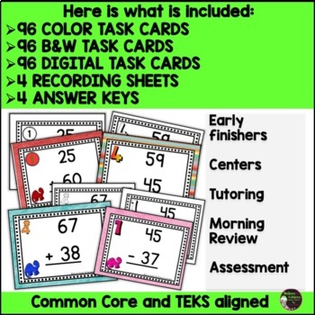 2-Digit Addition and Subtraction WITH & WITHOUT Regrouping Bundle (Dinosaur)