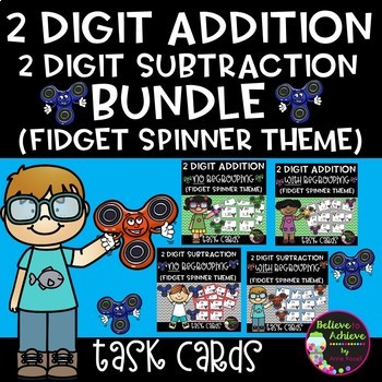 Two-Digit Addition and Subtraction Task Cards Bundle (Fidget Spinner theme)