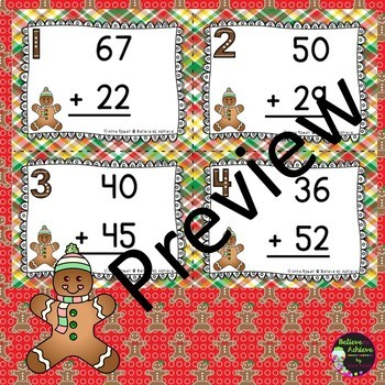 Two-Digit Addition and Subtraction Task Cards Bundle (Gingerbread boy theme)