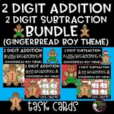 2-Digit Addition and Subtraction Task Cards Bundle (Gingerbread boy theme)