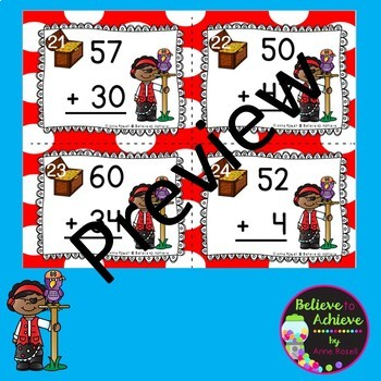 Two-Digit Addition and Subtraction Task Cards Bundle (Pirate theme)