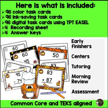 Two-Digit Addition and Subtraction Task Cards Bundle (Thanksgiving theme)