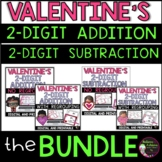 Two-Digit Addition and Subtraction Task Cards Bundle (Valentine's Day  theme)