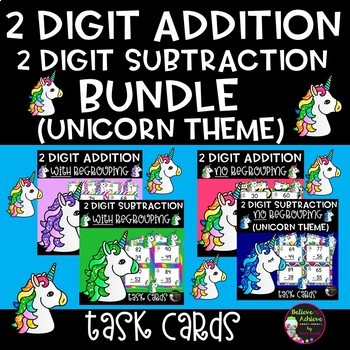 Two-Digit Addition and Subtraction Task Cards Bundle (Unicorn  theme)