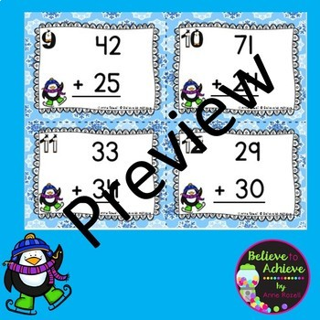 Two-Digit Addition and Subtraction Task Cards Bundle (Winter theme)