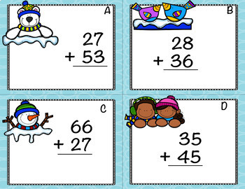 Two Digit Addition and Subtraction Winter Task Cards w/QR Codes Bundle