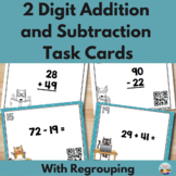 2 Digit Addition and Subtraction With Regrouping Task Card