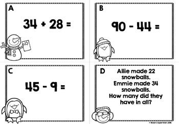 Two Digit Addition and Subtraction With Regrouping Task Cards