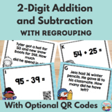 Winter Two Digit Addition and Subtraction With Regrouping Task Cards