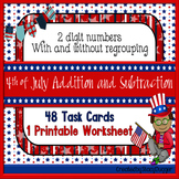 2 Digit Addition and Subtraction With & Without Regrouping Task Cards