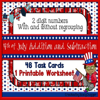 Two-Digit Addition & Subtraction Task Cards With & Without