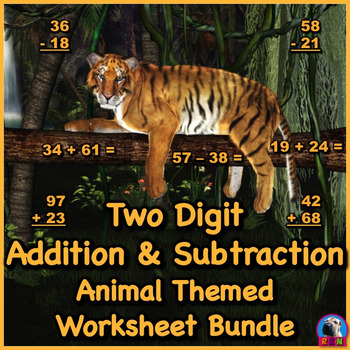 Two Digit Addition and Subtraction Worksheet Bundle - Animals (60 Pages)
