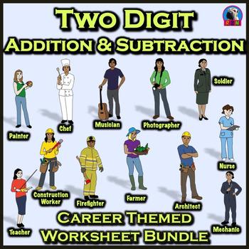 Two Digit Addition & Subtraction Worksheet Bundle - Commun