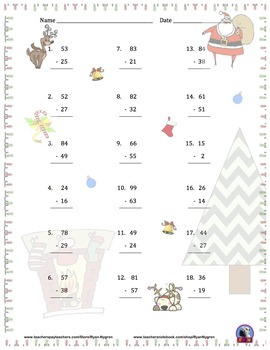 Two Digit Addition and Subtraction Worksheet Bundle - Christmas (60 Pages)