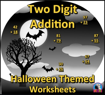Two Digit Addition and Subtraction Worksheet Bundle - Halloween (60 Pages)