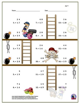 Two Digit Addition and Subtraction Worksheet Bundle - Pirates (60 Pages)