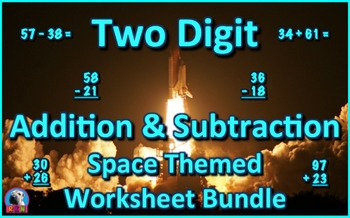 Two Digit Addition and Subtraction Worksheet Bundle - Space (60 Pages)