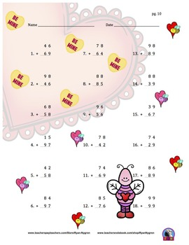 Two Digit Addition and Subtraction Worksheet Bundle - Valentine's Day (60 Pages)