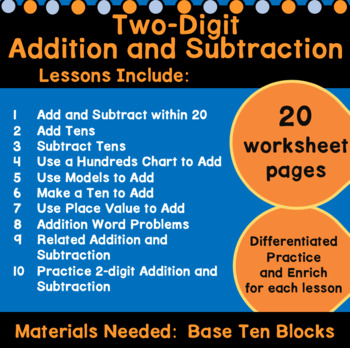 Two-Digit Addition and Subtraction Worksheets First Grade Chapter 8