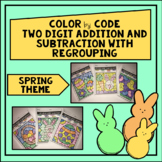 Two Digit Addition and Subtraction with Regrouping Color by Code- Spring