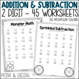 2 Digit Addition and Subtraction Worksheets With and Witho