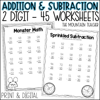 Two Digit Addition and Subtraction (with and without regrouping)