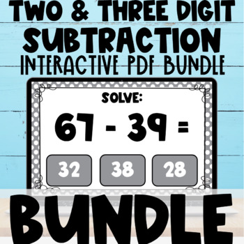Two Digit  and Three Digit Subtraction Interactive PDF Task Cards