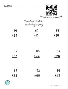 Addition with Regrouping Worksheet with Video Tutorial (QR Code)