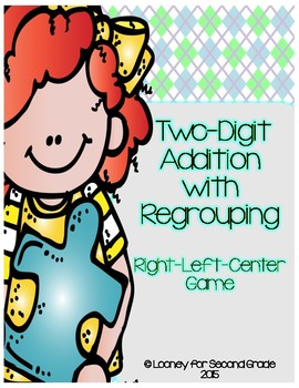 Two Digit Addition with Regrouping Left-Right-Center Game