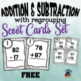 Two Digit Addition with Regrouping Scoot/Task Cards Set ~ Free