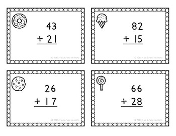 Two Digit Addition with Regrouping Task Cards