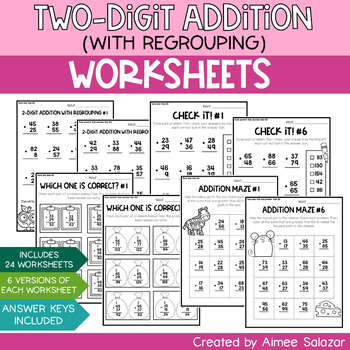 Two-Digit Addition with Regrouping Worksheets