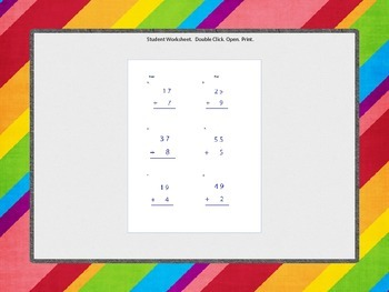Two Digit Addition with Regrouping with Student Worksheet