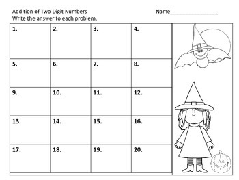 Two Digit Addition with and without Regrouping Center--Halloween Theme