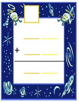 Two Digit Addition with regrouping workmat and Scoot Game- Space Themed