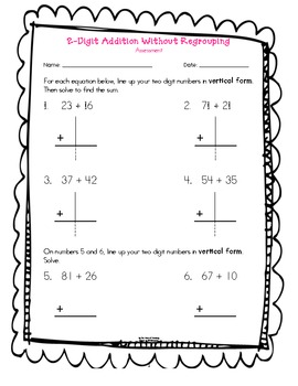 Two-Digit Addition without Regrouping Assessment