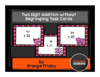 Two Digit Addition without Regrouping Task Cards