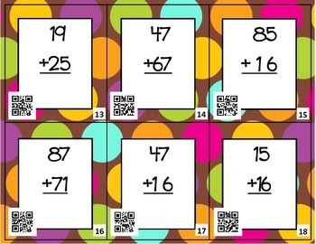 Two-Digit Addition/Regrouping- Around the Room with QR Codes