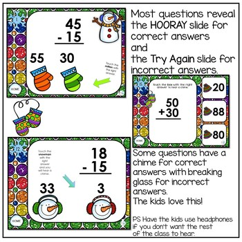 Addtion and Subtraction Interactive Powerpoint Game with Snowmen
