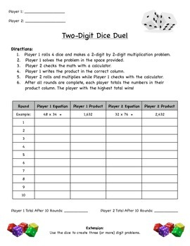Two-Digit Dice Duel (Common Core Aligned)