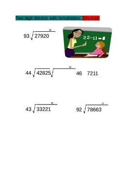 Two Digit Division with Remainder for 4th Grade