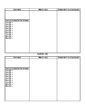 Two Digit Divisor Division Graphic Organizer
