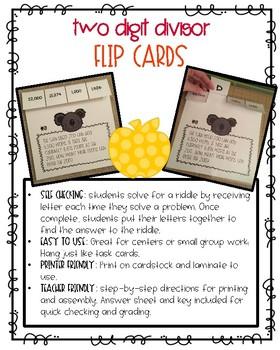 Two Digit Divisor Flip Cards