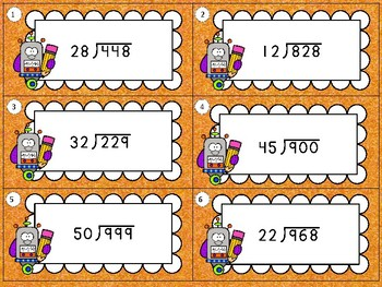 Two Digit Divisors Task Cards