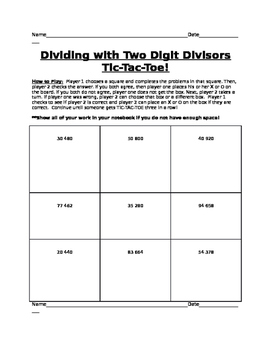 Two Digit Divisors Tic Tac Toe
