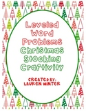 Two-Digit Leveled Word Problems Christmas Stocking Craftivity