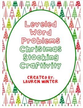 Two-Digit Leveled Word Problems Christmas Stocking Craftivity