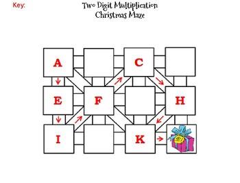 Two Digit Multiplication Activity: Christmas Math Maze